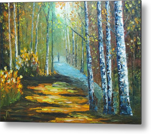 Landscape Metal Print featuring the painting Chosen Path by Charles Vaughn