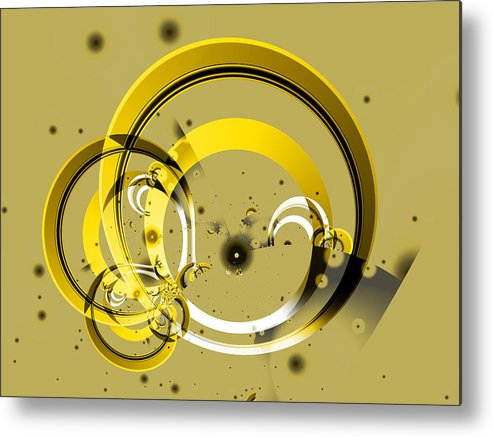 Fractal Metal Print featuring the digital art Golden Rings by Frederic Durville