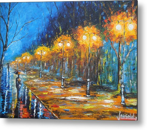 People Metal Print featuring the painting Misty Evening by Charles Vaughn