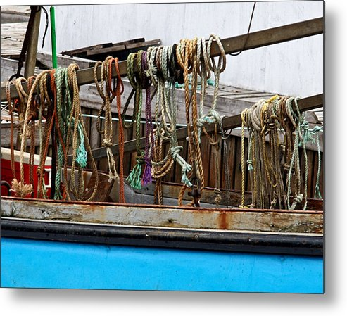 Tonemapped Metal Print featuring the photograph Painted Rope Coils by Brenda Giasson