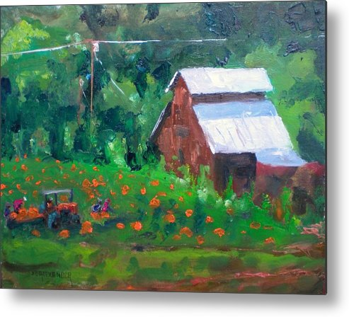 Old Barn Metal Print featuring the painting Pumpkin Field Revisited by Bryan Alexander