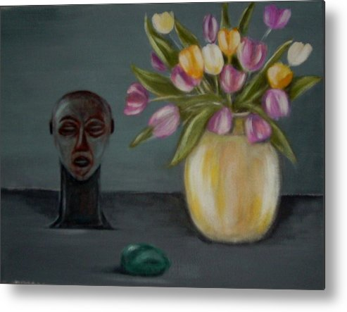 Tulips Metal Print featuring the painting Still life with tulips by Joseph Ferguson