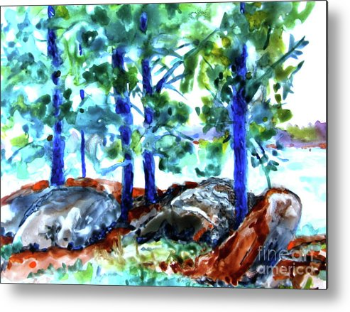 Landscape Metal Print featuring the painting Summer by the Lake by Jan Bennicoff