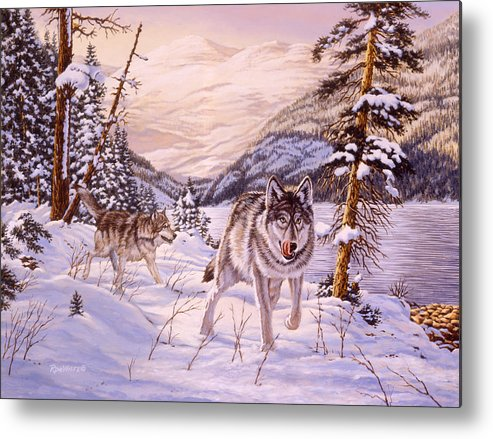 Wolf Metal Print featuring the painting Winter Hunt by Richard De Wolfe
