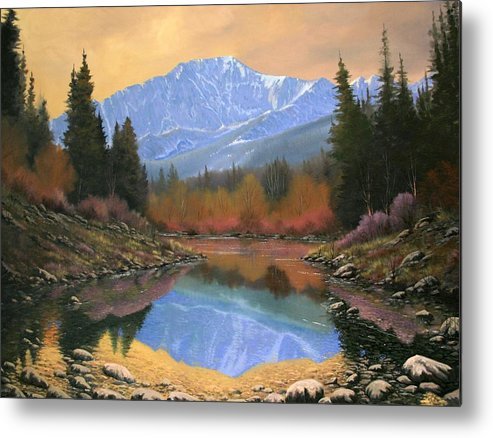 Landscape Metal Print featuring the painting 080220-4030 In All Its Glory - Pikes Peak by Kenneth Shanika