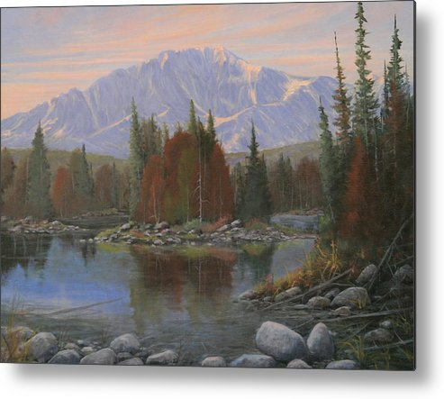 Landscape Metal Print featuring the painting 090506-1418  Colorado Morning by Kenneth Shanika