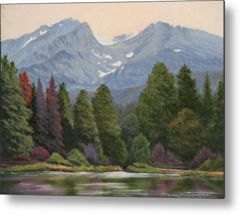 Landscape Metal Print featuring the painting 090817-1114 Ripples and Reflections - Sprague Lake by Kenneth Shanika