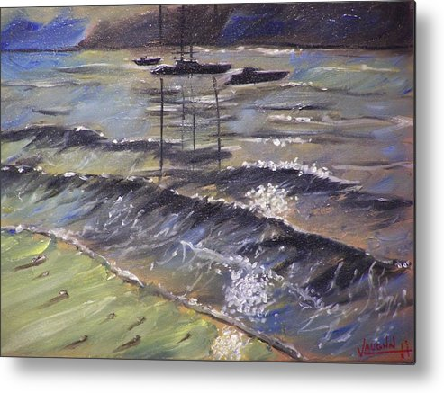Landscape Metal Print featuring the painting Harbor View by Charles Vaughn