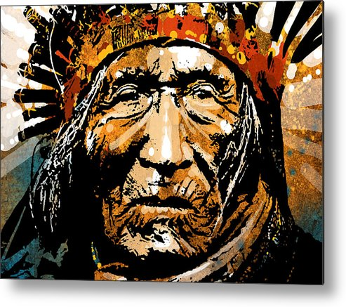 Native American Metal Print featuring the painting He Dog by Paul Sachtleben