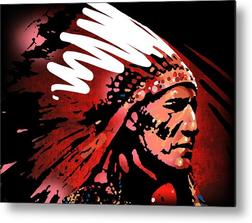 Native American Metal Print featuring the painting Red Pipe by Paul Sachtleben