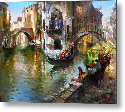 Romance In Venice Metal Print featuring the painting Romance in Venice by Ylli Haruni