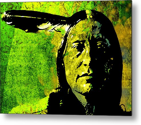 Native American Metal Print featuring the painting Scabby Bull by Paul Sachtleben