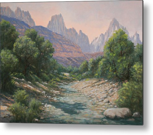 Rocky Mountains Metal Print featuring the painting 110124-1216  Bryce Canyon Run-Off by Kenneth Shanika