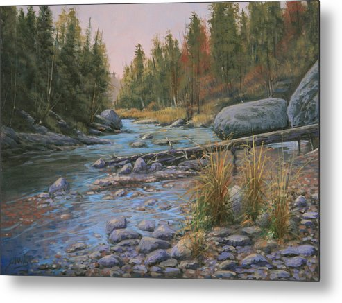 Rocky Mountains Metal Print featuring the painting 110128-912 Autumns' Gift by Kenneth Shanika