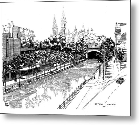 Cityscape Metal Print featuring the drawing 1971 Rideau Canal Ottawa by John Cullen