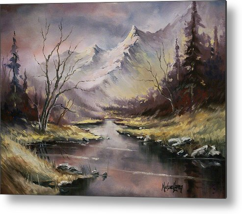Original Landscape Oil Painting Metal Print featuring the painting Landscape by Michael Lang