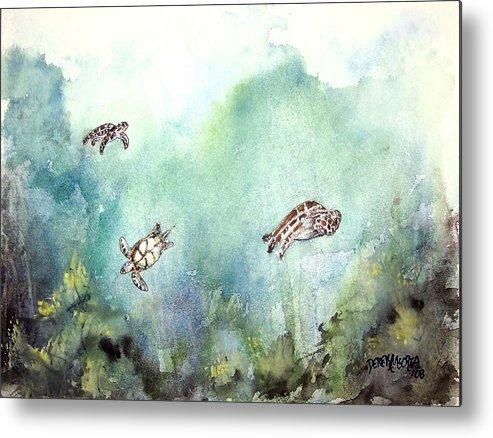 Turtle Metal Print featuring the painting 3 Sea Turtles by Derek Mccrea