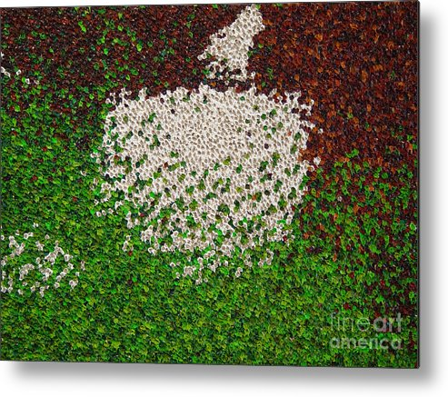 Abstract Metal Print featuring the painting Soft Green with Brown, Buff and White by Dean Triolo