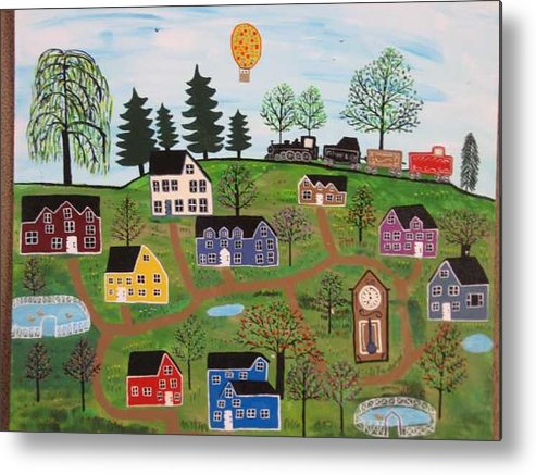 Folk Art Village Metal Print featuring the painting A Beautiful Day in Deltalareah Wexla by Mike Filippello