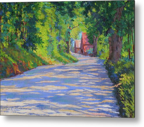 Landscape Metal Print featuring the painting A Summer Road by Keith Burgess