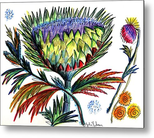 Flowers Metal Print featuring the painting A Thistle by Julie Richman