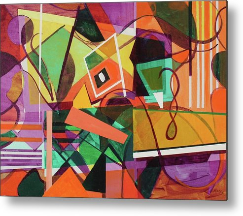 Abstract Metal Print featuring the painting Abstract July 2017 by Rollin Kocsis
