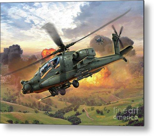 Ah-64 Metal Print featuring the digital art Ah-64 Apache by Stu Shepherd