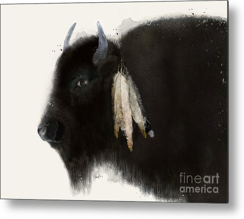 Buffalo Metal Print featuring the painting American Buffalo by Bri Buckley