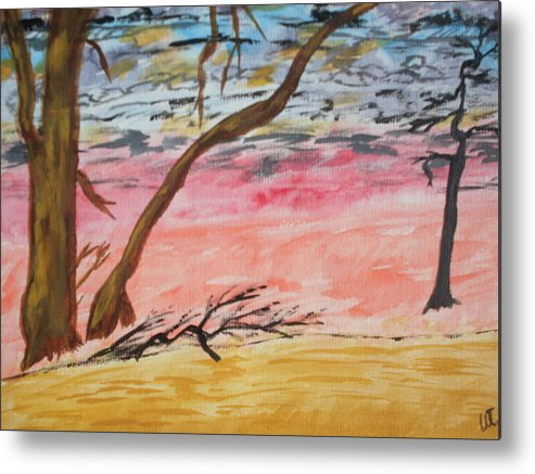 Landscape Metal Print featuring the painting Angry Sky by Warren Thompson