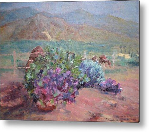 Anza Borrego Desert; Horses; Historical Mt. Landmark; Flowers Of The Desert-cactus Metal Print featuring the painting Anza Angel Cactus by Bryan Alexander