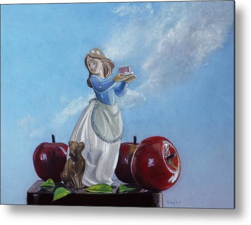 Apples With Figurine Metal Print featuring the painting Apples with Figurine by Robert Tracy