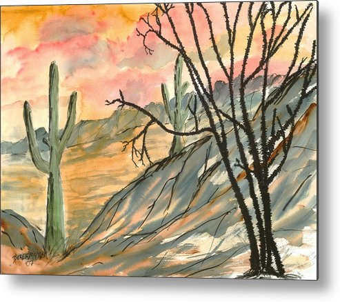 Drawing Metal Print featuring the painting Arizona Evening Southwestern landscape painting poster print by Derek Mccrea