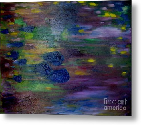 Abstract Metal Print featuring the painting Around the Worlds by Laurie Morgan