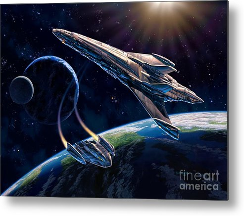 Space Ship Metal Print featuring the painting At Corealla by Stu Shepherd