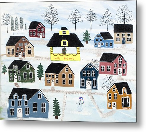 Christmas Metal Print featuring the painting Awaiting Christmas in Glennawexton Park by Mike Filippello