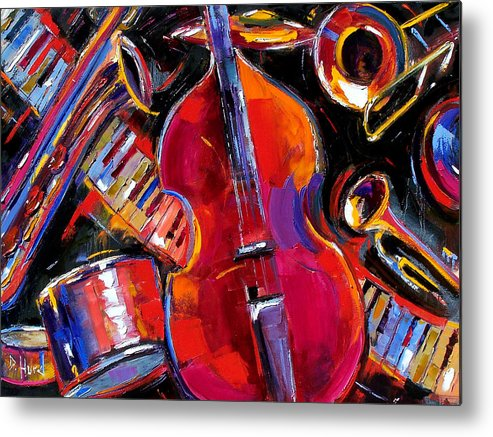 Jazz Metal Print featuring the painting Bass And Friends by Debra Hurd