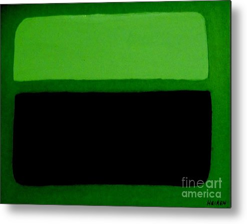 Painting Metal Print featuring the painting Black on Dark Green and Medium Green by Marsha Heiken