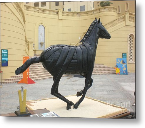 Horse Metal Print featuring the sculpture Black Stalion Tyre Sculpture by Mo Siakkou-Flodin