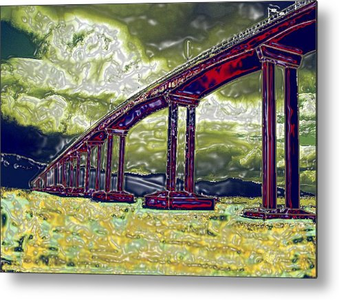 Stormy Water Bridge Hobart Tasmania Metal Print featuring the photograph Bridge over Stormy Waters by Bethwyn Mills