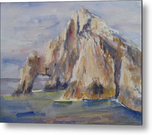 Landscape Metal Print featuring the painting Cabo Arch by Joyce Kanyuk