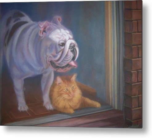 English Bulldogs Metal Print featuring the painting Caesar and Lily by Diane Caudle