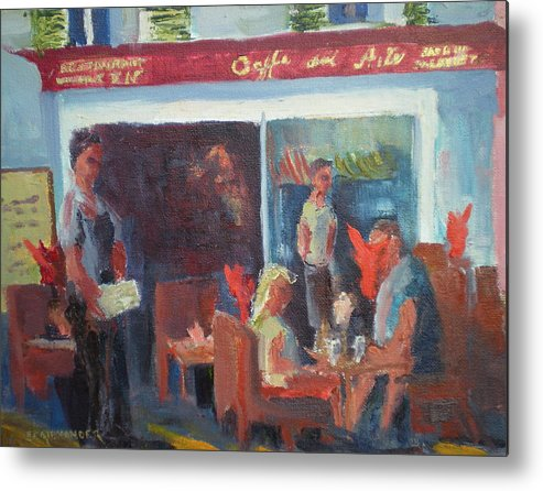 French Cafe Metal Print featuring the painting Cafe Dell Arte by Bryan Alexander