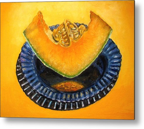 Cantaloupe Metal Print featuring the painting Cantaloupe Oil Painting by Natalja Picugina