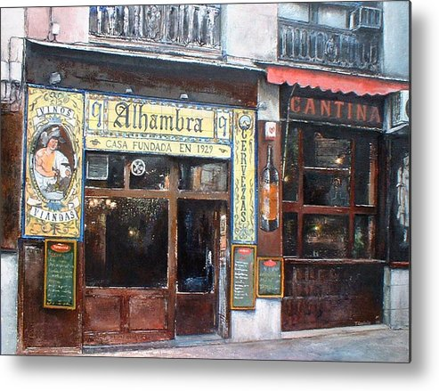 Madrid Metal Print featuring the painting Cantina Alhambra 1 by Tomas Castano