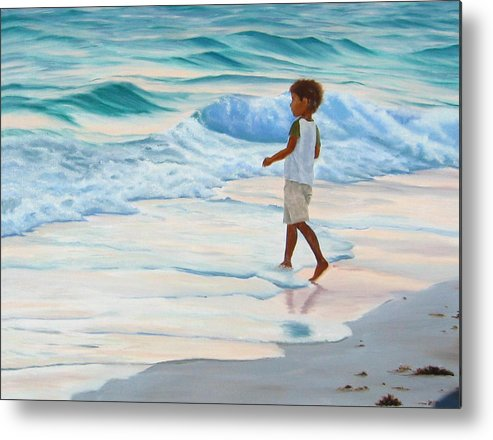 Child Metal Print featuring the painting Chasing the Waves by Lea Novak