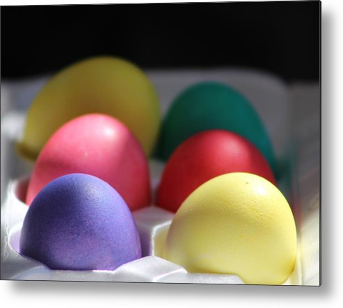 Dye Metal Print featuring the photograph Citrus and Ultra Violet Easter Eggs by Colleen Cornelius