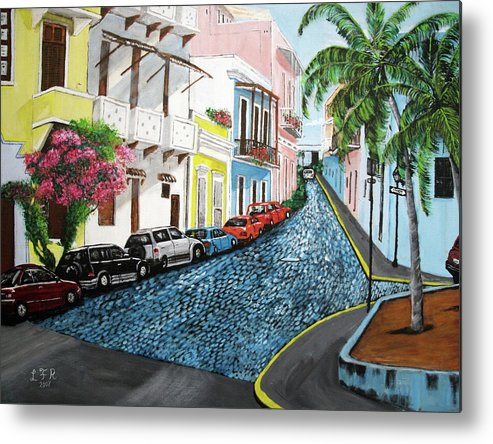 Old San Juan Metal Print featuring the painting Colorful Old San Juan by Luis F Rodriguez