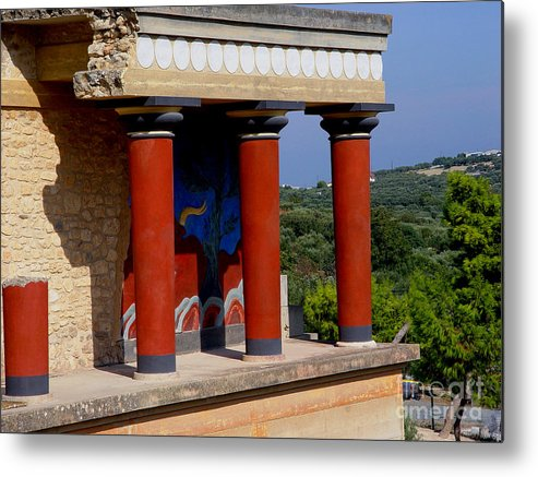 Red Columns Metal Print featuring the photograph Columns Of Knossos Greece by Nancy Bradley