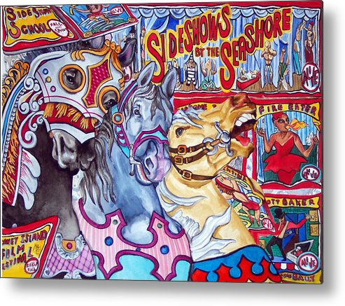 Horses Metal Print featuring the print Coney Island Runaway by Bette Gray