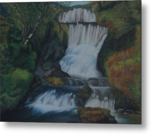 Waterfall Metal Print featuring the painting Cool waters by Nellie Visser
